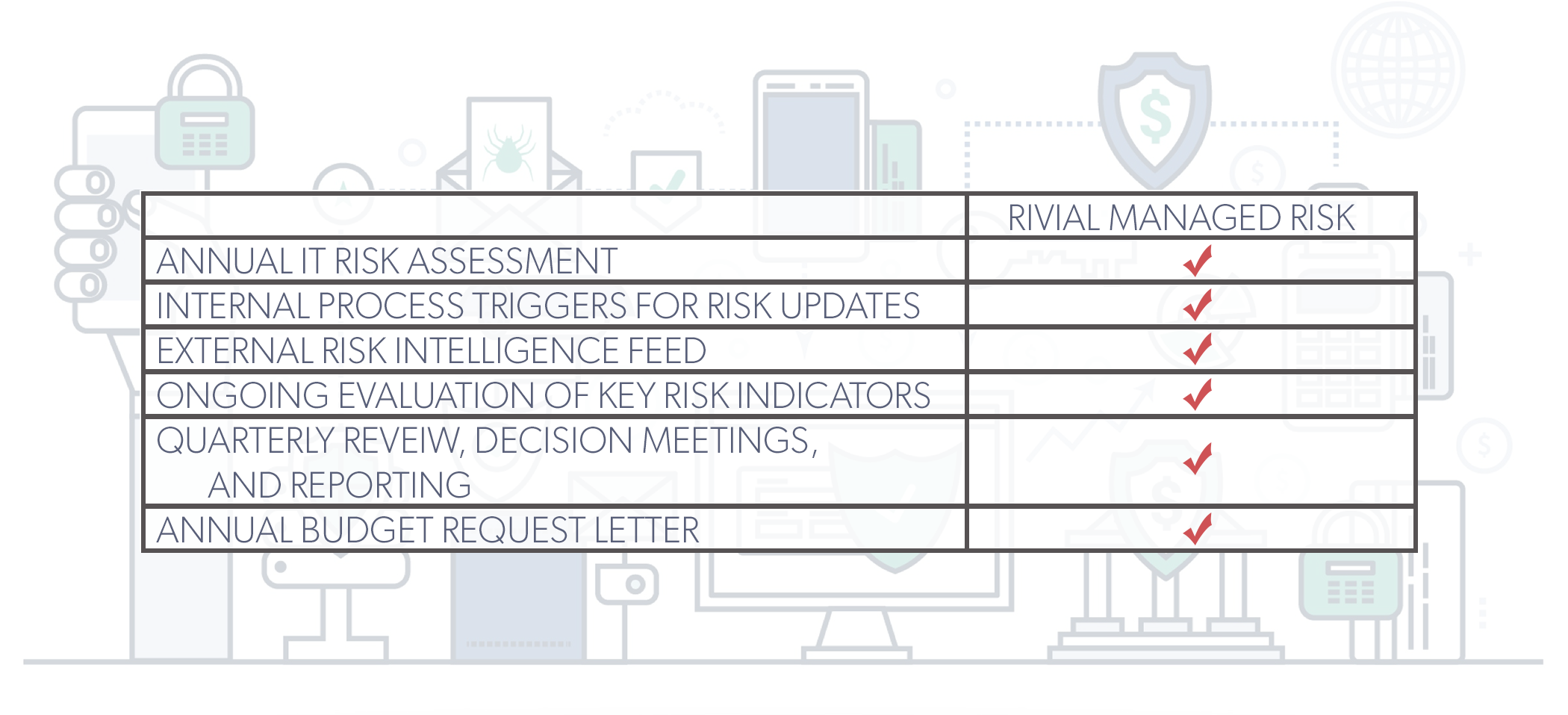 Checklist of Rivial Security's Managed Risk Assessment